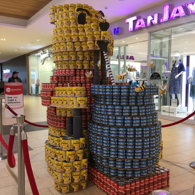 Canstruction Victoria Pooh Bear