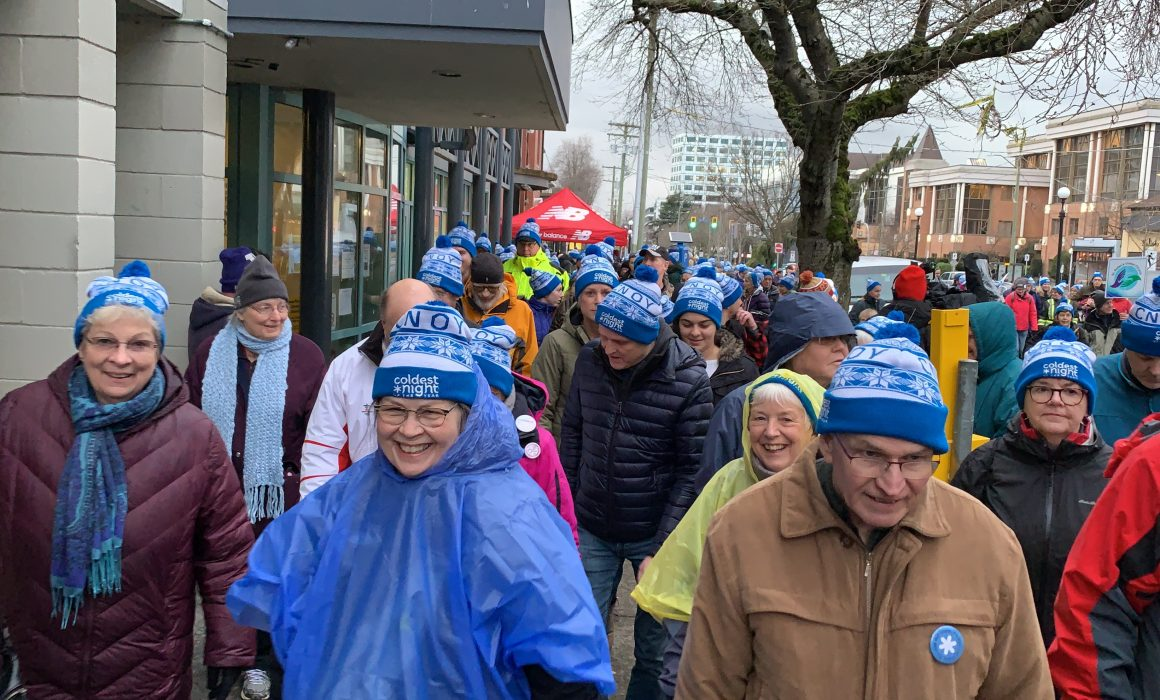 A group of people walk together for The Coldest Night of the Year